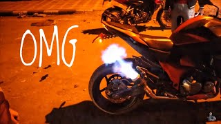 Fire Shot from Kawasaki z800 | NEW EXHAUST worth Rs. 1,00,000/-