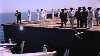 Chiang Kai Shek and party board helicopter at USS Constellation in China. HD Stock Footage