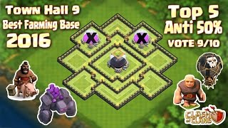Clash Of Clans - Top 5 Town Hall 9 (Th9) Farming Base Anti Giant,Golem 2016 + Build & Replay