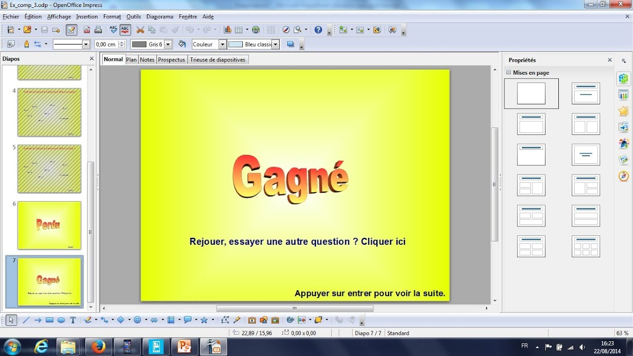 Tutoriel diaporama preao structuration jeux openoffice - Comment faire un publipostage sur open office ...