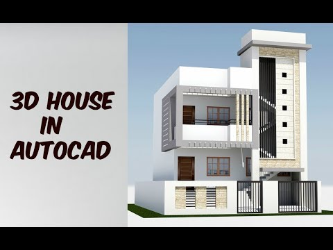 2 Floor 3d House Design In Autocad Youtube