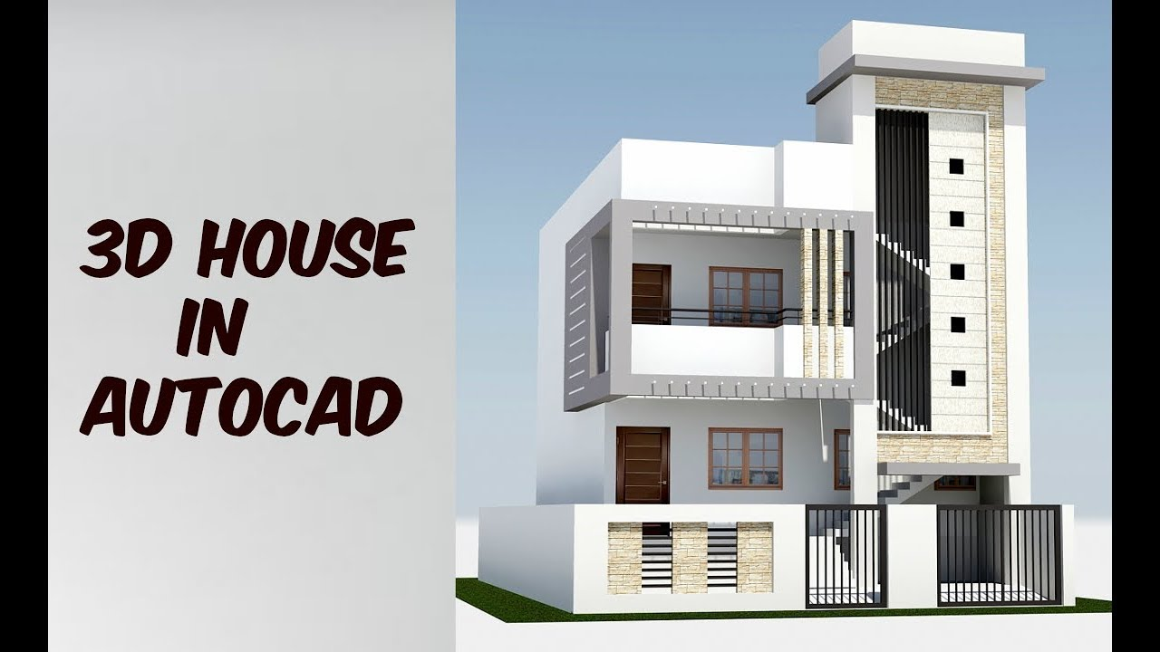 2 floor 3d house design in autocad - YouTube