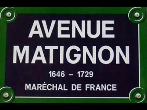 Avenue  Matignon Paris Arrondissement  8e