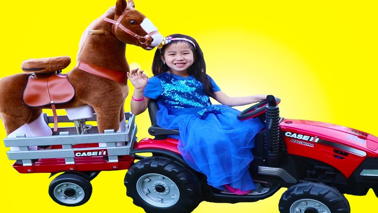 Jannie Pretend Play With Ride On Tractor Horse Toy For