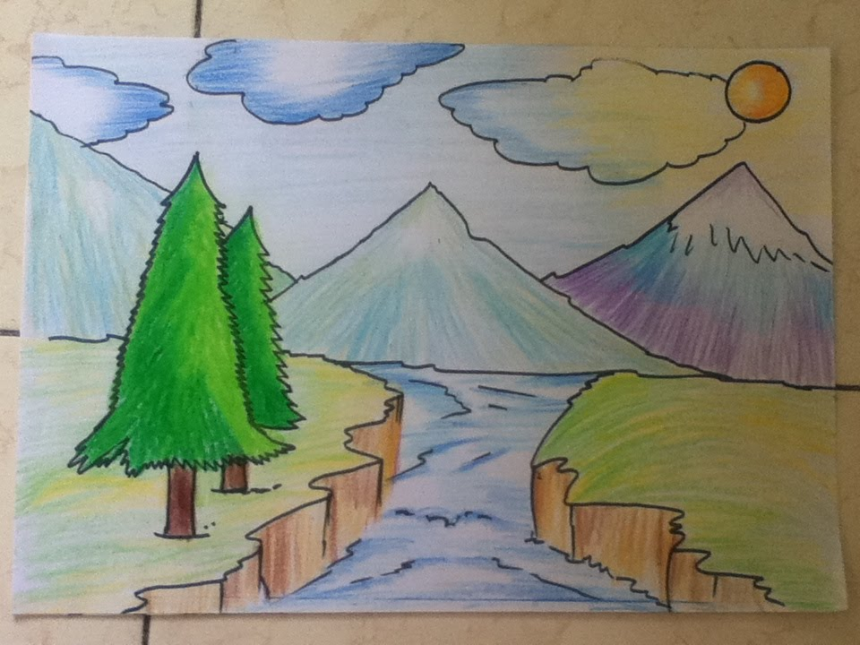 Beautiful landscape drawing for beginners