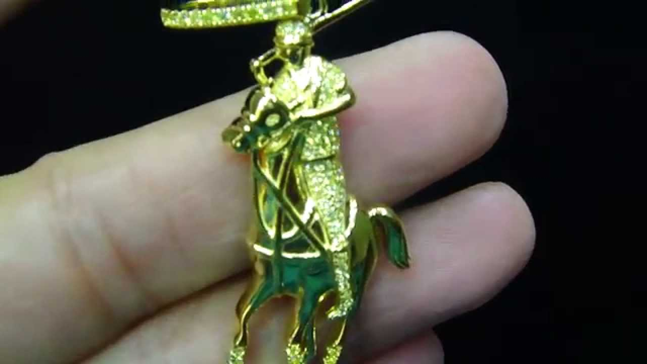 diamond itm finish gun army white pendant inch charm soldier ebay genuine in gold img man