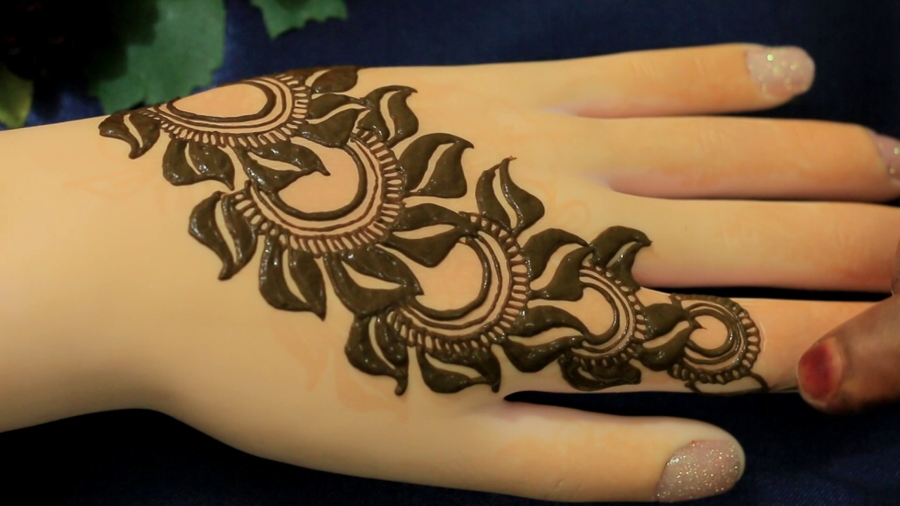 Mehndi Flower Designs For Hands : 2017 leafy flower henna mehndi designs for hands:easy unique mehendi
