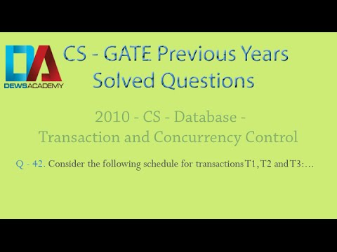 CS Gate 2010 - Q. 42 - Database - Transaction and Concurrency Control