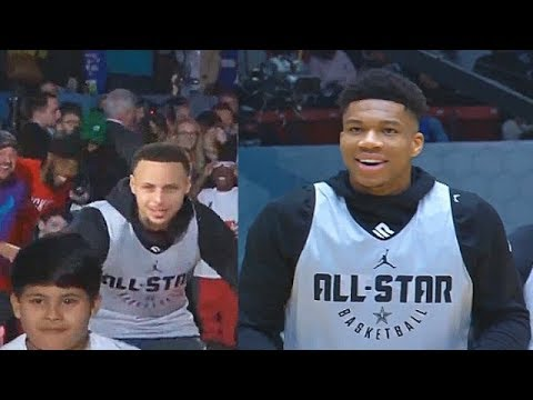 Team Giannis 2019 All-Star Practice Introductions With Steph Curry, Westbrook, & Embiid!