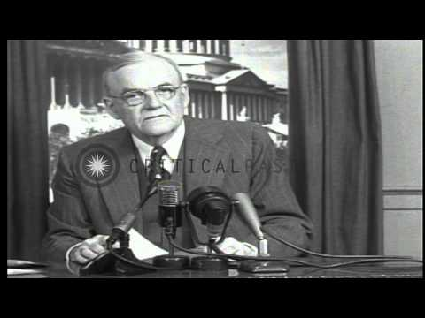 Secretary of State John Foster Dulles in retakes of a speech about  Communism in ...HD Stock Footage