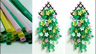 ดอกไม้จากหลอด ดอกไม้แขวนฝาหนังจากหลอด by มายมิ้นท์ Flower wall hanging from 100% Straws.