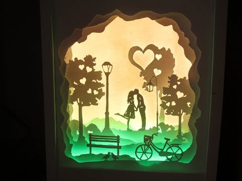"""[PaperArt] How to make """"love at first sight"""" lightbox papercut _ DIY"""