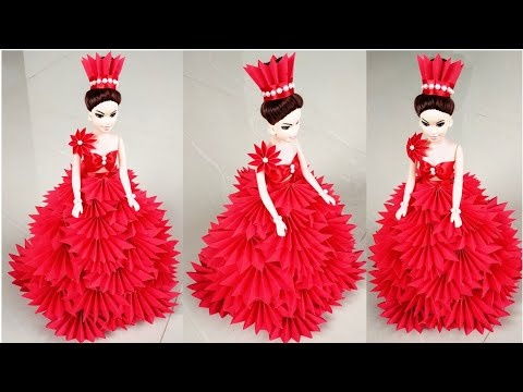 DIY Beautiful Paper Costume For Dolls/How to Decorate a Doll with Paper/Doll Decoration Idea