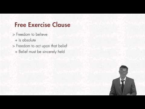 First Amendment lecture: Free Exercise Clause - Part 1 | quimbee.com