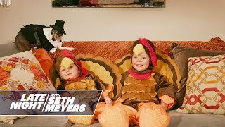 Seth's Sons Wear Turkey Costumes to Celebrate Thanksgiving