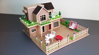 Building A Beautiful Mansion House With Fairy Garden using Cardboard & Popsicle Stick - Dream House