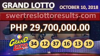 LOTTO RESULT OCTOBER 10 2018 9PM (6/55 result w/ jackpot of 29.7M)