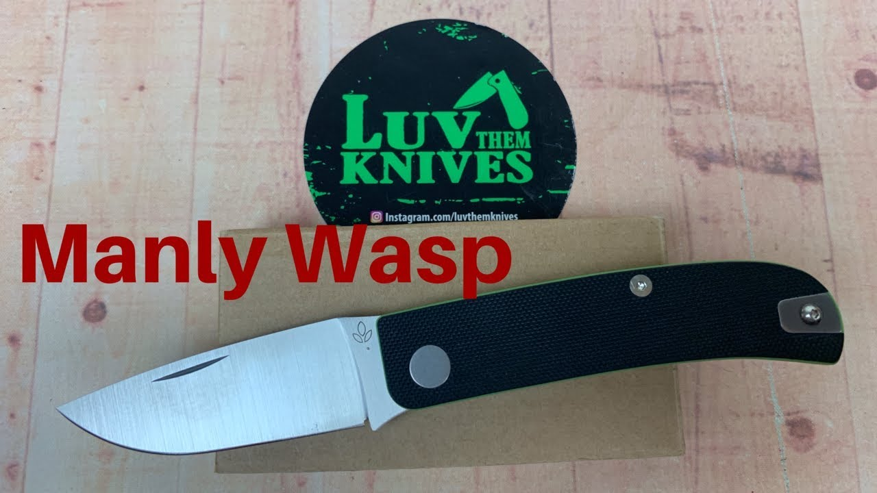 Manly Wasp Military Green Taschenmesser CPM-S-90V Stahl Slipjoint G10 Griff Clip