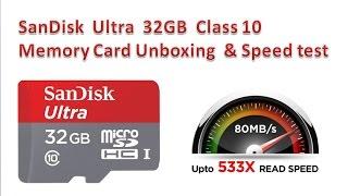 SanDisk Ultra 32GB Class 10 Memory Card Unboxing & Speed test [ हिंदी - Hindi ]