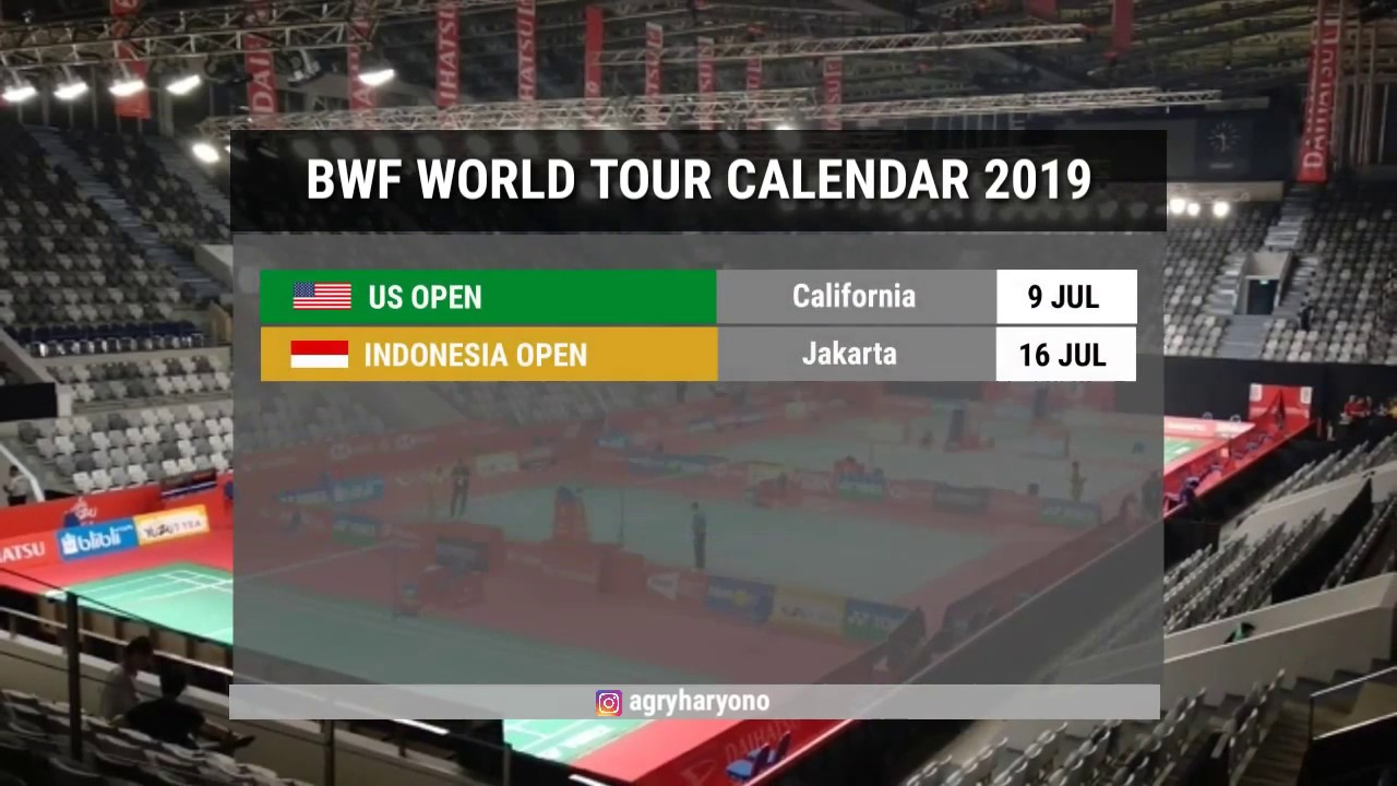 BWF WORLD TOUR CALENDAR 2019 - YouTube