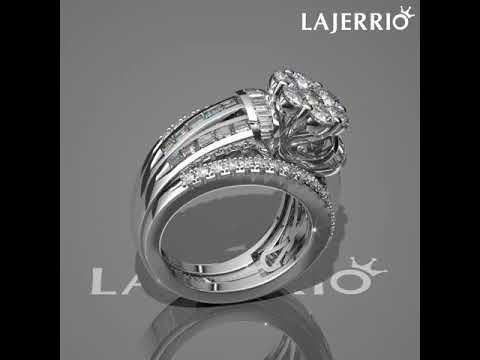 360° - Round Cut Flower White Sapphire 925 Sterling Silver Women's Engagement Ring