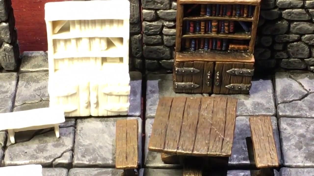 Miniature Monday 7 10 2017 Dungeon Furniture Edition Reaper Bones Bookshelf And Table