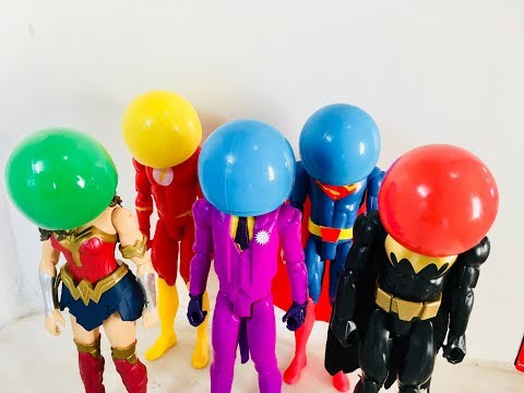 LEARN COLORS AND OBJECTS WITH SUPERHEROS batman joker superman wonder woman the flash spiderman