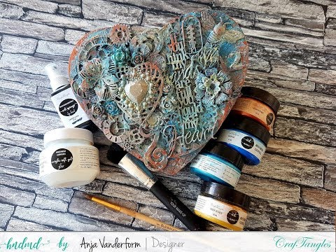 Mixed Media Altered Heart Using CrafTangles Mixed Media Supplies [DIY Start To End Tutorial]