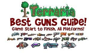 TERRARIA BEST GUNS GUIDE! How to get & crafting: Megashark, Sniper Rifle, Chaingun, S.D.M.G & MORE!