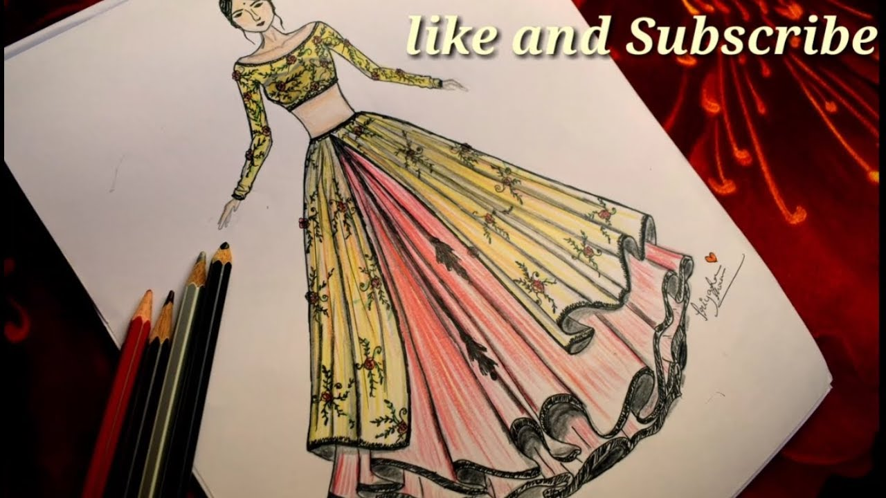 How To Draw Floral Printed Lehenga With Blouse Ii Designer Lehenga Youtube