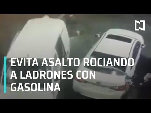 Evita asalto rociando a ladrones con gasolina