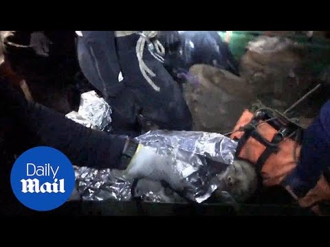 New emotional footage shows boys being saved from Thai cave - Daily Mail