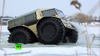 Real ATV: Russian badass lunar-rover like truck storms swamps, lakes, forests(New Russian all-terrain vehicle Sherp can reach the most distant corners of Earth. It can easily overcome barriers up to 70cm high and swim in water and even ..., 2016-02-10T17:08:14.000Z)