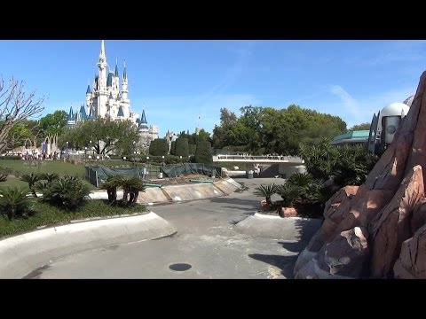 Magic Kingdom Hub Expansion Progress, Walt Disney World, Moat Drained, Swan Boat Dock Removed