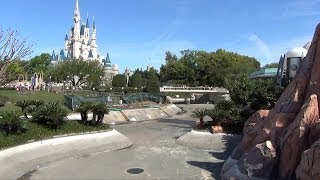 Magic Kingdom Hub Expansion Progress, Walt Disney World, Moat Drained, Swan Boat Dock Removed