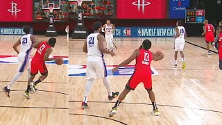 James Harden Throws Ball At Joel Embiid After Shove & Gets Technical Foul! Rockets vs Sixers