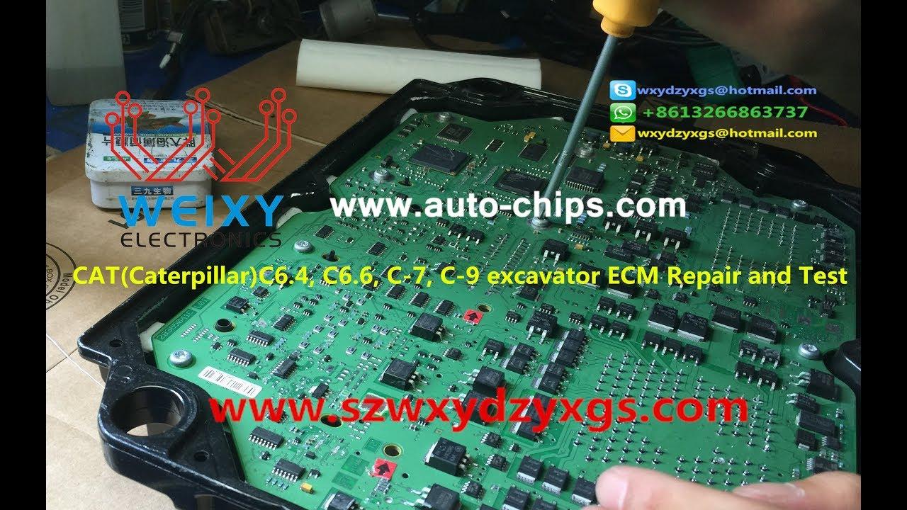 cat(caterpillar)c6 4, c6 6, c-7, c-9 excavator ecm repair and test