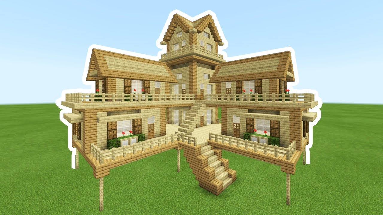Minecraft Tutorial: How To Make A 2 Player Ultimate Wooden ... Minecraft Mansion Ideas Of How To Build