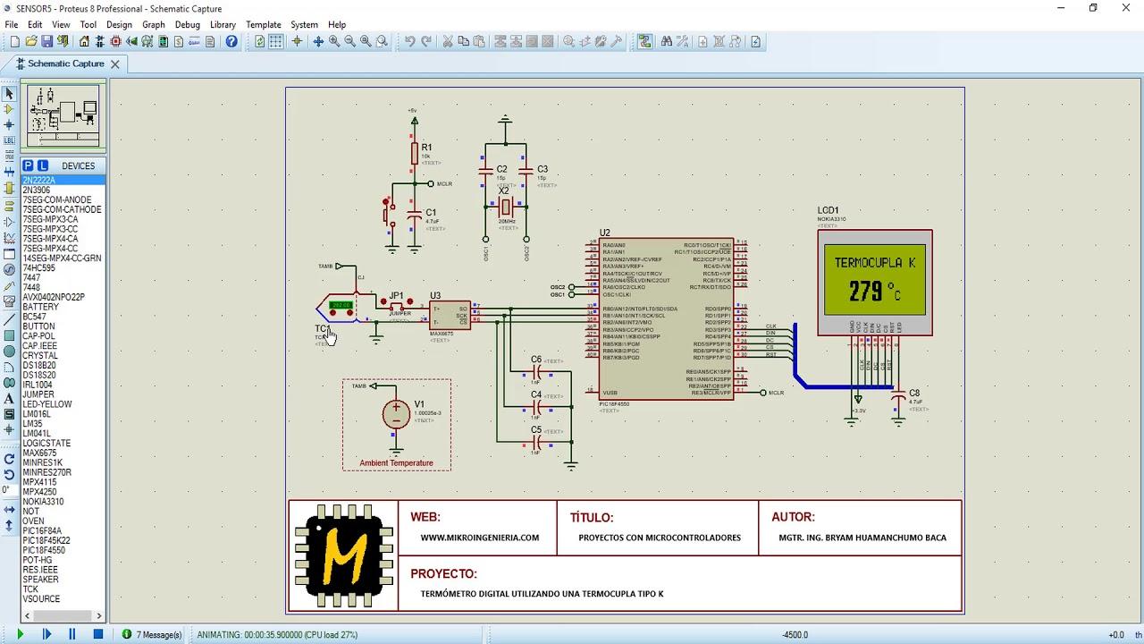 PIC18 TERMOPAR MAX6675 Termómetro Digital