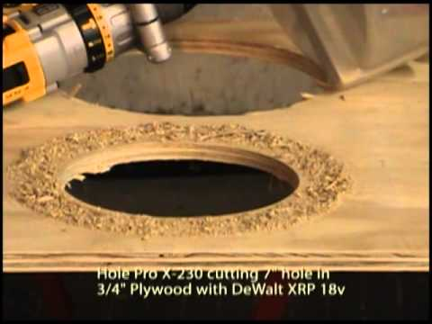 Hole Pro X-230 Adjustable Hole Cutter cutting plywood with DeWalt XRP
