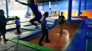 drop kicking kids at the trampoline park