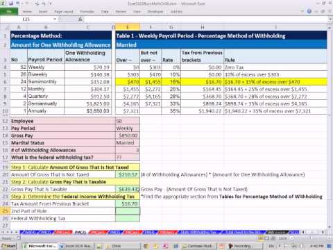 Excel 2010 Business Math 56 Federal Income Tax Deduction Percentage