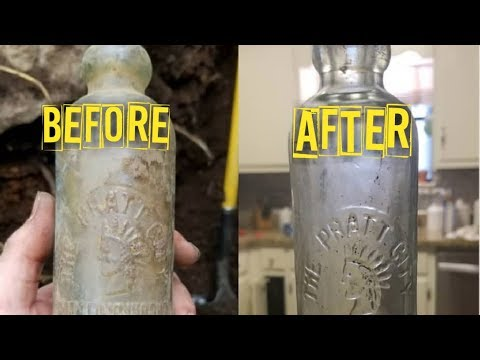 How To Clean Antique Bottles! The Hard Part Of Digging Bottles!