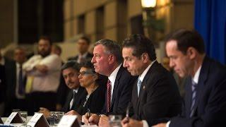 Mayor Bill de Blasio Hosts Press Conference with Governor Cuomo
