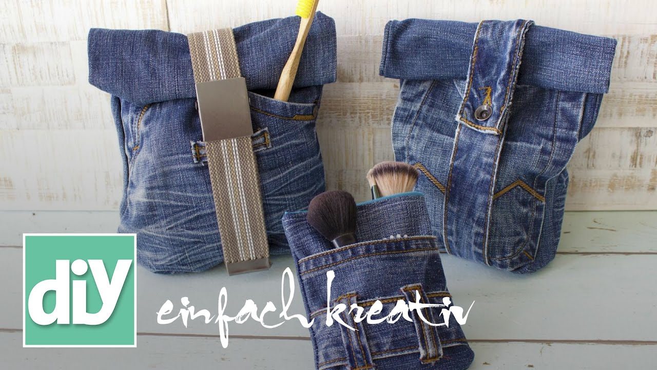 kosmetiktasche aus jeans diy einfach kreativ youtube. Black Bedroom Furniture Sets. Home Design Ideas