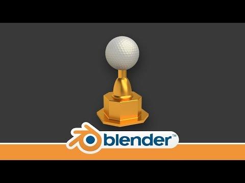 Making a golden Golf Trophy in Blender 2.79
