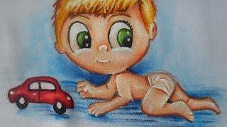 Como pintar bebês estilizado em tecido