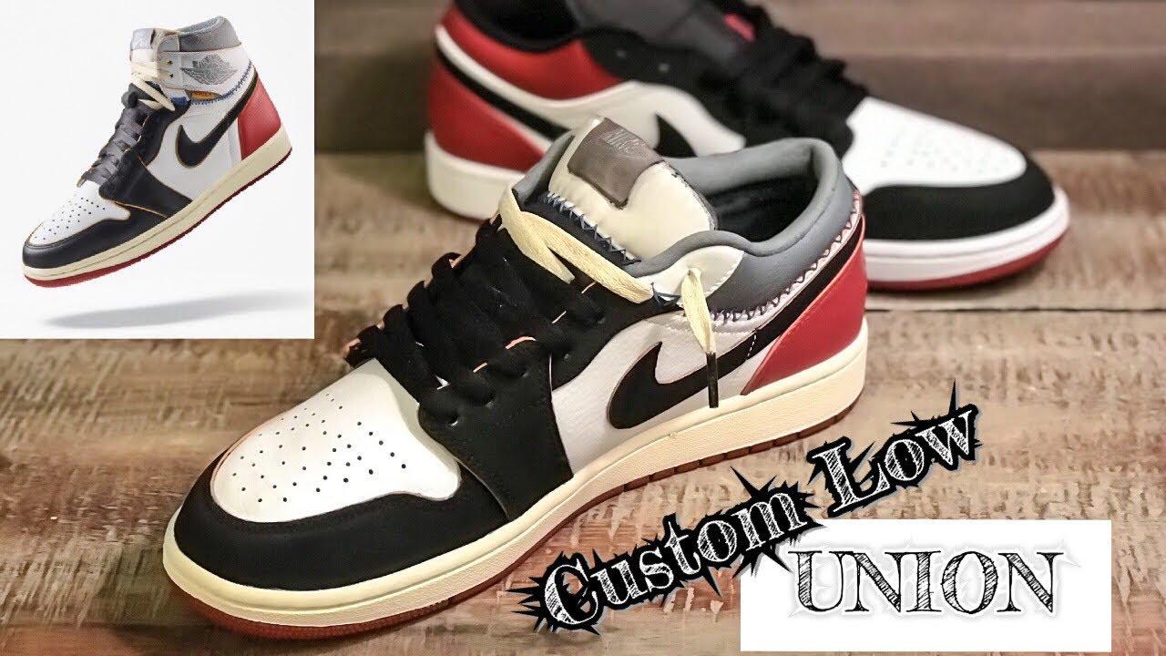 Custom Union Jordan 1 Black Toe Low Start To Finish Youtube