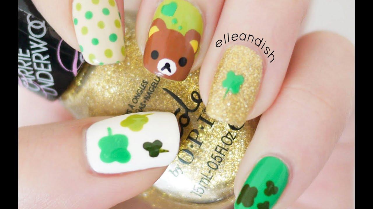 St. Patrick\'s Day Rilakkuma Nails - YouTube