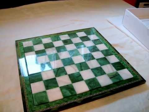 Alabaster Chess Board and Pieces - Green & White Marble - Wood Framed - AncientChess.com